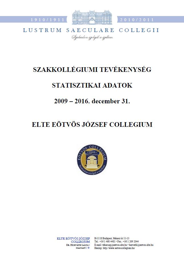 Statisztika 2009 - 2016. december előlap