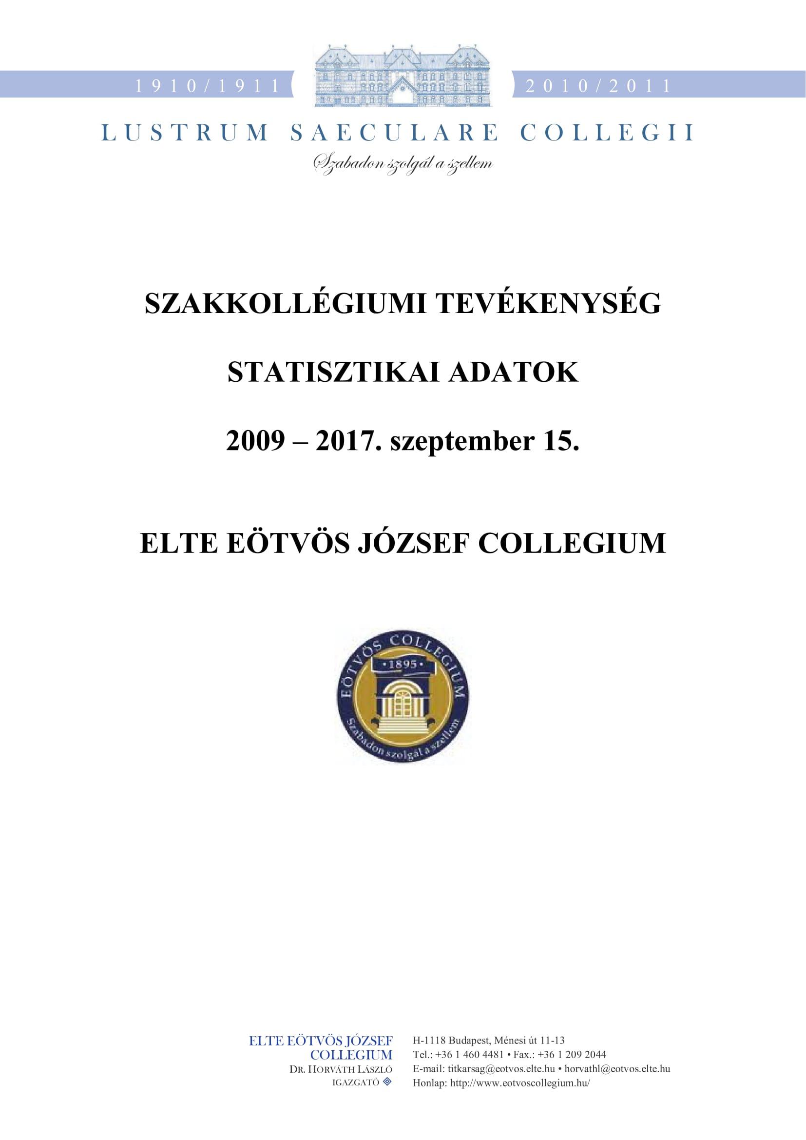 Statisztika 2009 - 2017. szeptember előlap
