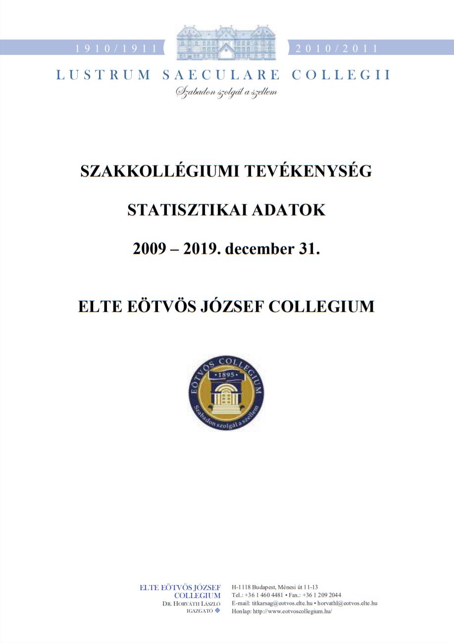 ELTE Eötvös József Collegium (2009-2019.07.) statisztika